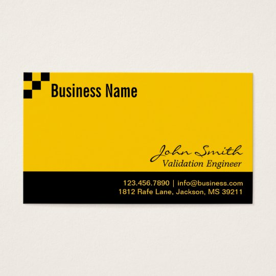 Chequerboard Validation Engineer Business Card