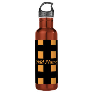 Chequered and Floral Personalised 710 Ml Water Bottle