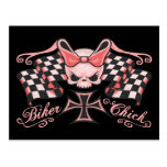 Chequered Biker Chick Post Cards
