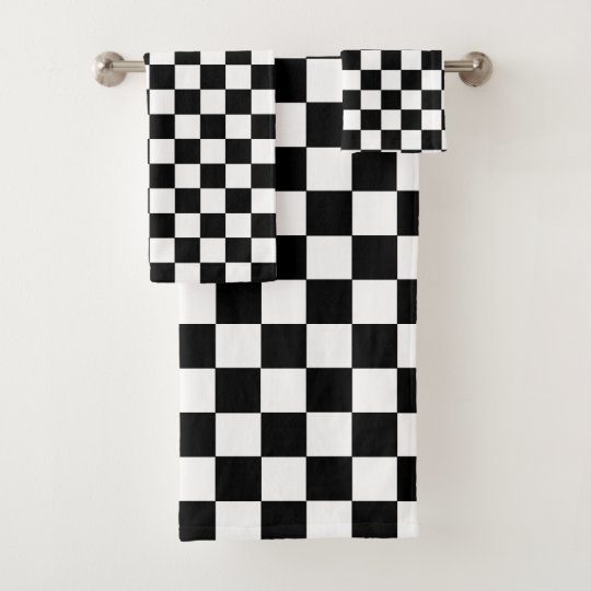Black And White Bathroom Towel Sets: Chequered Black And White Bath Towel Set
