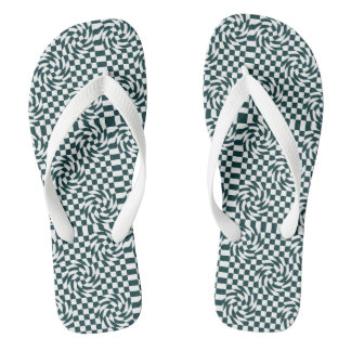 Chequered black and white flip flop
