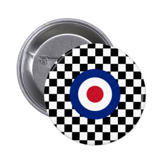Chequered Black Racing Target Mod 6 Cm Round Badge