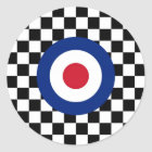 Chequered Black Racing Target Mod Classic Round Sticker
