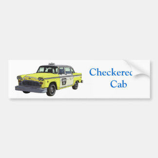 Chequered Cab Taxi Classic Car Illustration Bumper Sticker