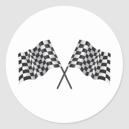 chequered cross flags classic round sticker