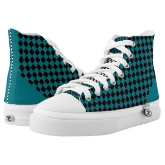 Chequered Dot Turquoise High Tops