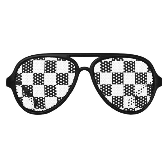 Chequered flag auto racing party shades sunglasses