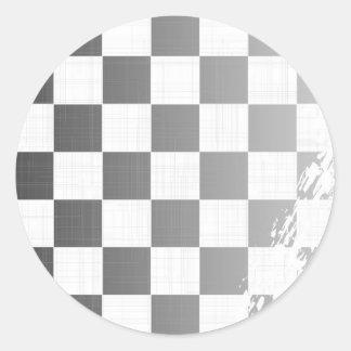 Chequered Flag Grunge Classic Round Sticker