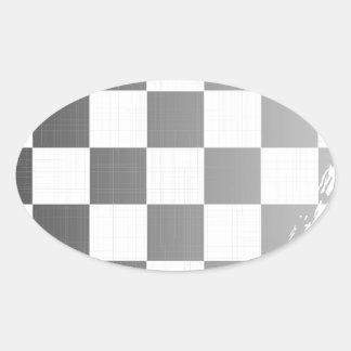 Chequered Flag Grunge Oval Sticker