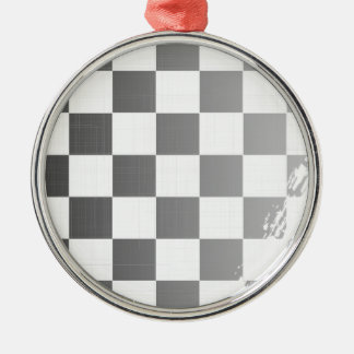 Chequered Flag Grunge Silver-Colored Round Decoration