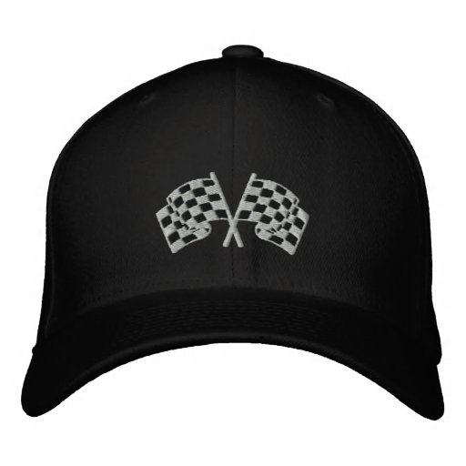 Chequered flag racing motorsport black cap baseball cap