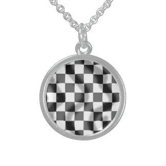 Chequered Flag Slight Ripple Round Necklace