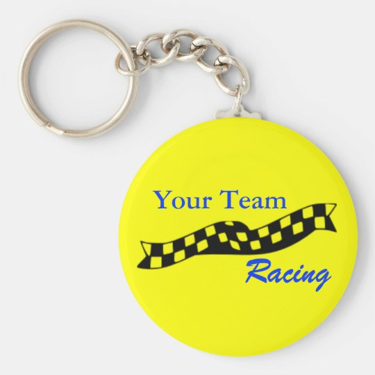 Chequered Flag Swoop Race Team Keychain