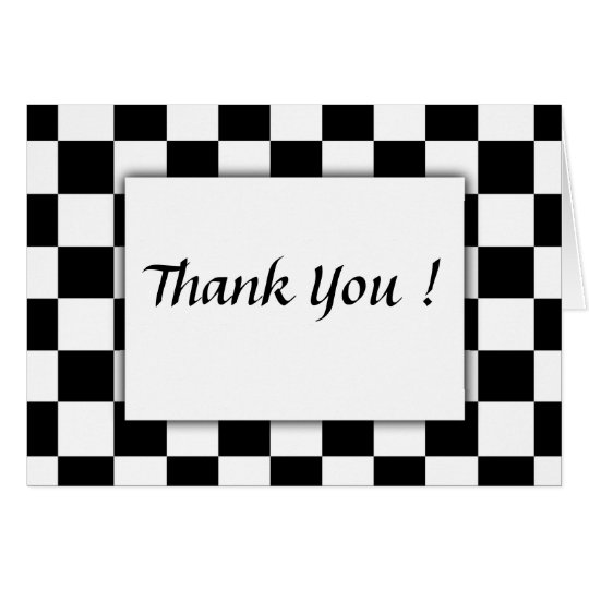 Chequered Flag Thank You Card Blank Inside