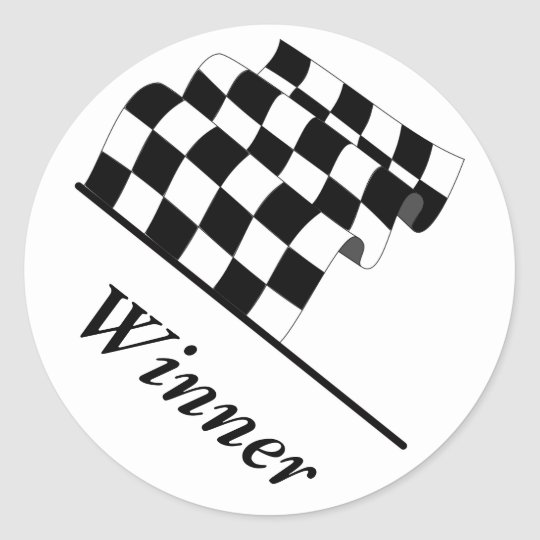 Chequered Flag Waving Race Winner Classic Round Sticker