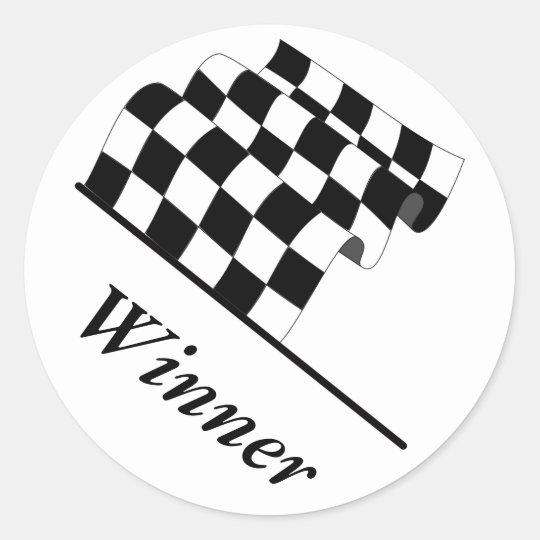 Chequered Flag Waving Race Winner Classic Round Sticker