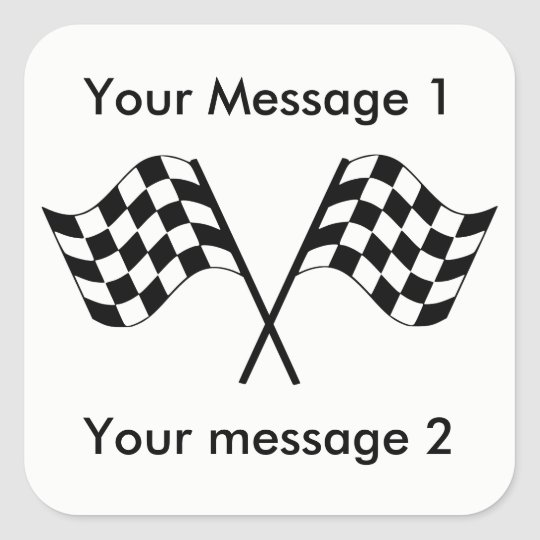 Chequered Flags Racing Personalised Square Sticker
