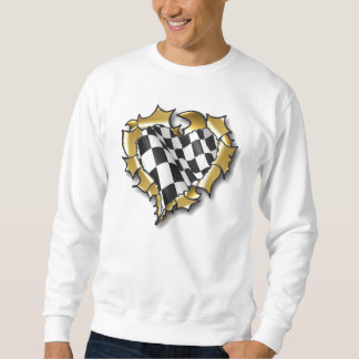 """Chequered Heart"" by Flagman Sweatshirt"