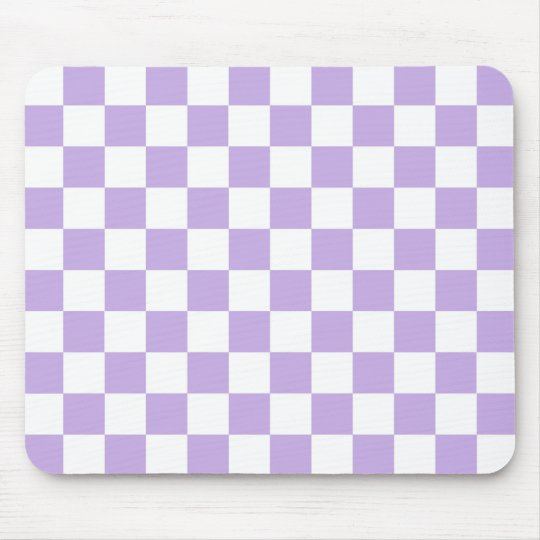 Chequered Lavender and White Mouse Mat