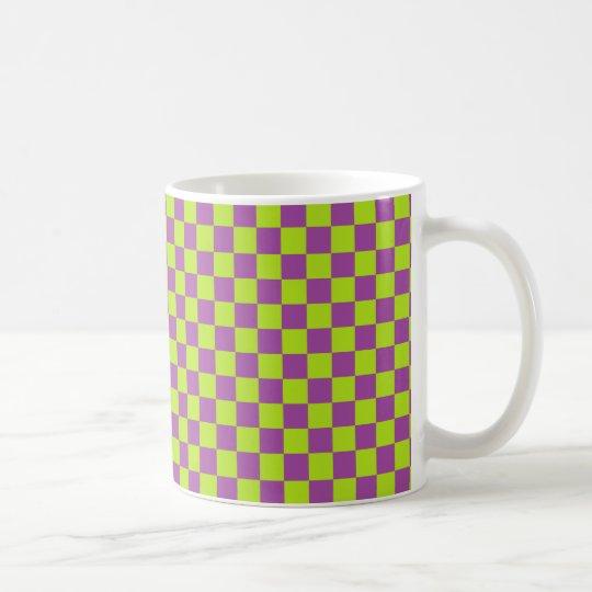 Chequered Lime Green and Purple Coffee Mug