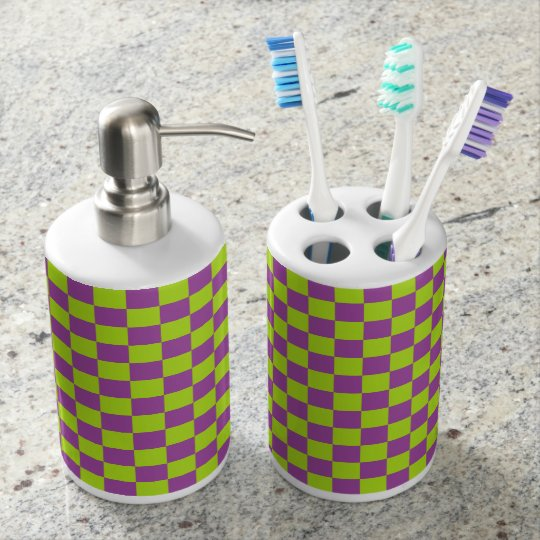 Chequered Lime Green and Purple Soap Dispenser And