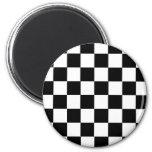 Chequered Pattern 6 Cm Round Magnet