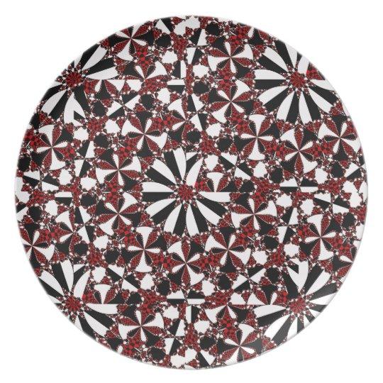 Chequered Petals Melamine Plate