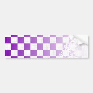 Chequered Purple Grunge Bumper Sticker