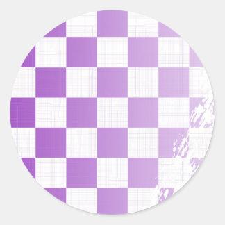 Chequered Purple Grunge Classic Round Sticker