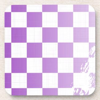 Chequered Purple Grunge Coaster
