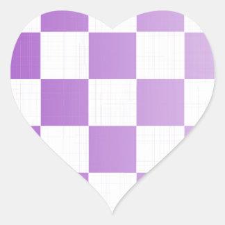 Chequered Purple Grunge Heart Sticker