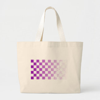 Chequered Purple Grunge Large Tote Bag