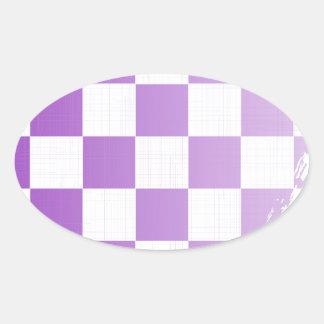 Chequered Purple Grunge Oval Sticker