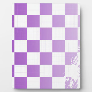 Chequered Purple Grunge Photo Plaques