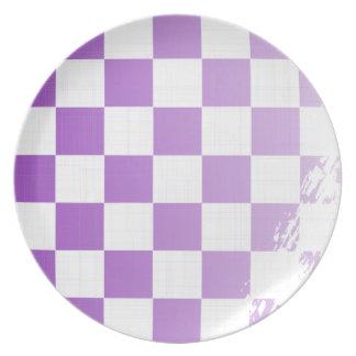 Chequered Purple Grunge Plate