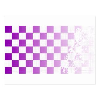 Chequered Purple Grunge Postcard