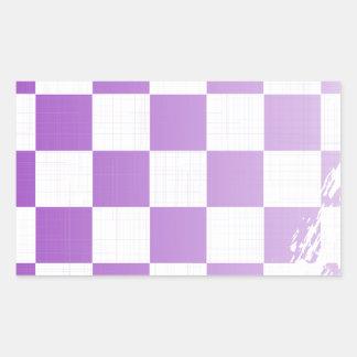 Chequered Purple Grunge Rectangular Sticker