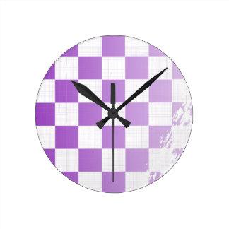 Chequered Purple Grunge Round Clock