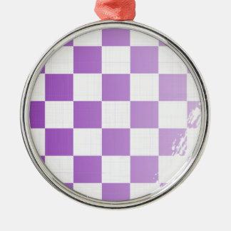 Chequered Purple Grunge Silver-Colored Round Decoration