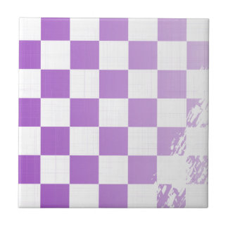 Chequered Purple Grunge Small Square Tile