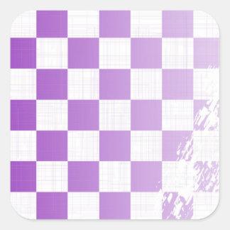 Chequered Purple Grunge Square Sticker