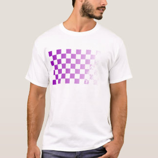 Chequered Purple Grunge T-Shirt