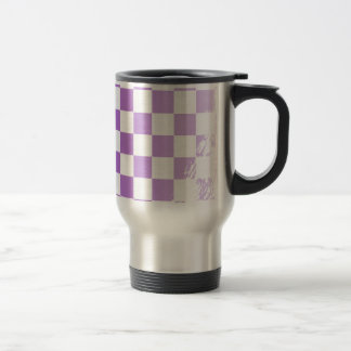 Chequered Purple Grunge Travel Mug