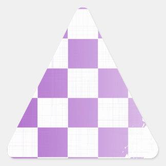 Chequered Purple Grunge Triangle Sticker