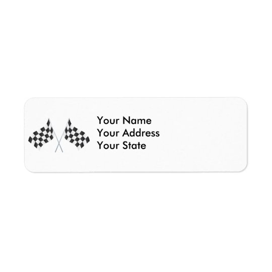 chequered racing flags graphic return address label