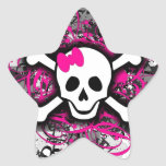 Chequered Skull With Hot Pink Splatter Star Stickers