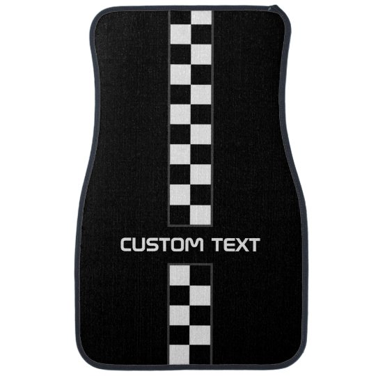 Chequered Stripe Car Floor Mats - with custom
