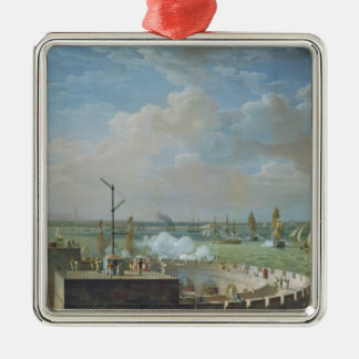Cherbourg Harbour, 1822 Silver-Colored Square Decoration