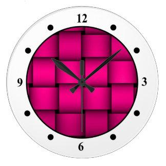 Cherise Pink Plaid Large Clock