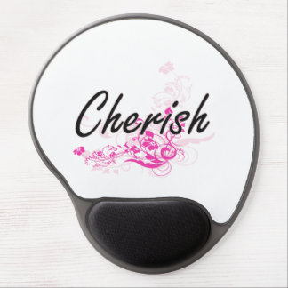 Cherish Artistic Name Design with Flowers Gel Mouse Pad
